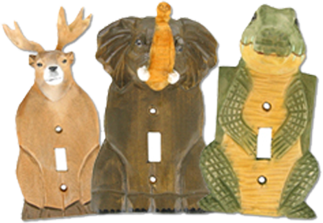 3-D Wooden Animals Light Switch Plates - Outlet Covers
