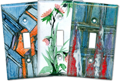 Enameled Glass Light Switch Plates - Outlet Covers