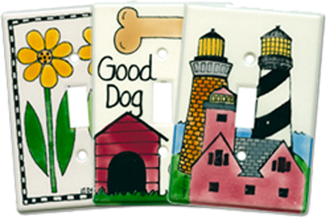 Folk Art Ceramic Light Switch Plates - Outlet Covers