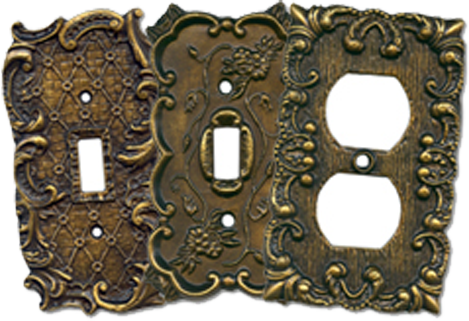 Vintage Brass Light Switch Plates - Outlet Covers