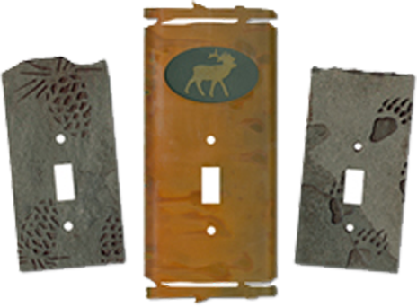 Woodsy Metal & Slate Light Switch Plates - Outlet Covers