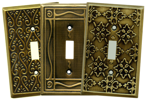 Embossed Brass Light Switch Plates - Outlet Covers