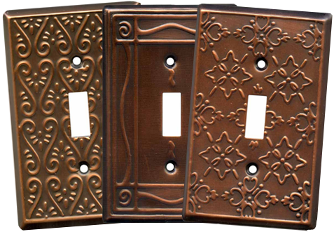 Embossed Copper Light Switch Plates - Outlet Covers
