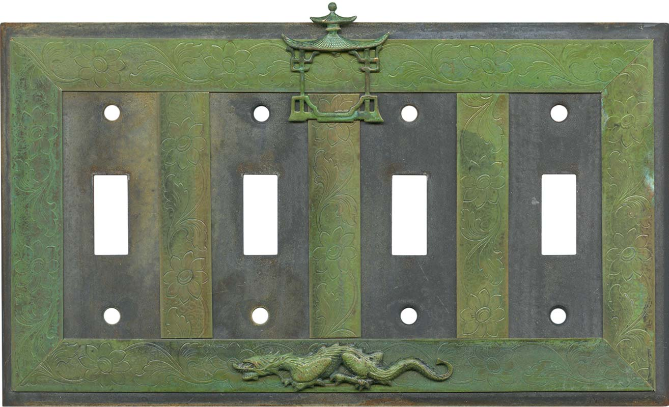 Asian Teahouse Quad 4 Toggle Light Switch Covers