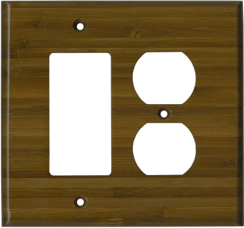 Bamboo Caramel Satin Lacquer 1-Gang GFCI Decorator Rocker Switch Plate Cover