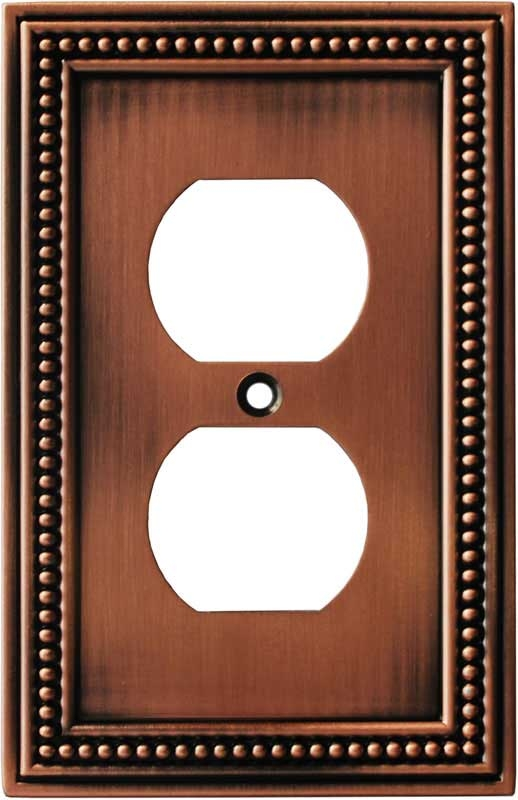 Beaded Aged Brushed Copper 1 Gang Duplex Outlet Cover Wall Plate