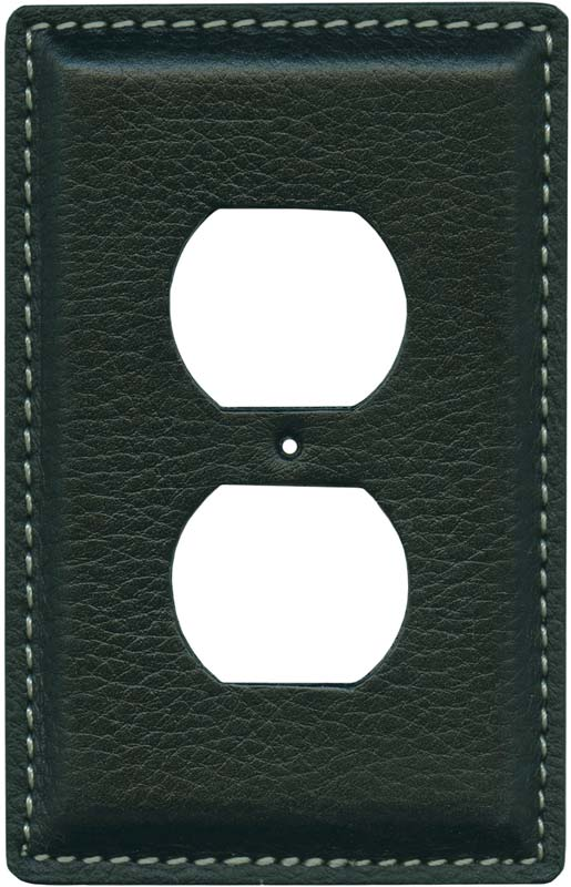 Black Pebble Grain Leather 1 Gang Duplex Outlet Cover Wall Plate