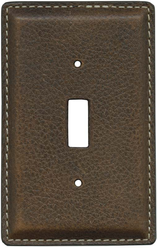 Brown Pebble Grain Leather1 Toggle Light Switch Cover