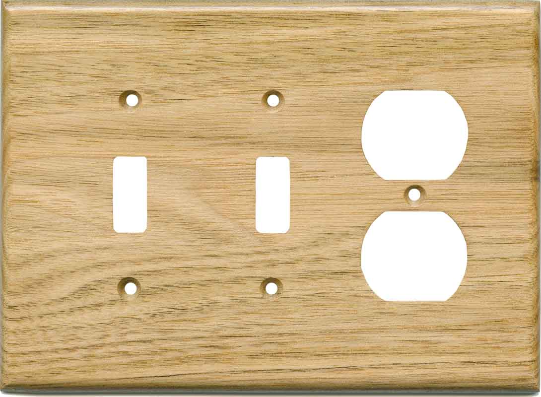 Butternut Satin Lacquer Double 2 Toggle / Outlet Combination Wall Plates