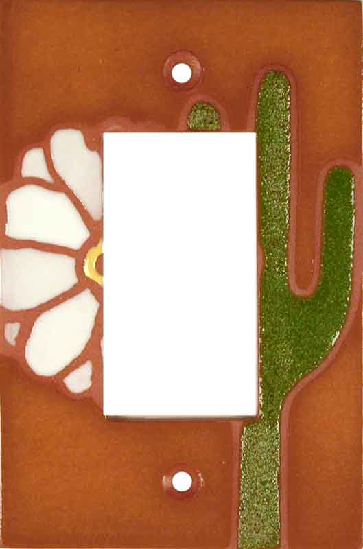 Cactus Flower White Single 1 Gang GFCI Rocker Decora Switch Plate Cover