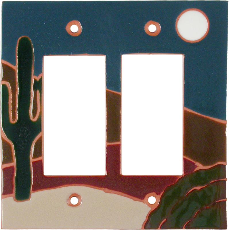 Cactus Full Moon 2 Gang Double GFCI Rocker Decorator Wallplates