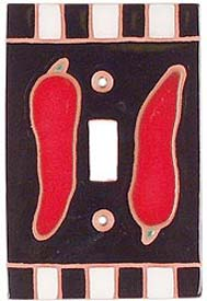 Chili Peppers Black Single 1 Toggle Light Switch Plates