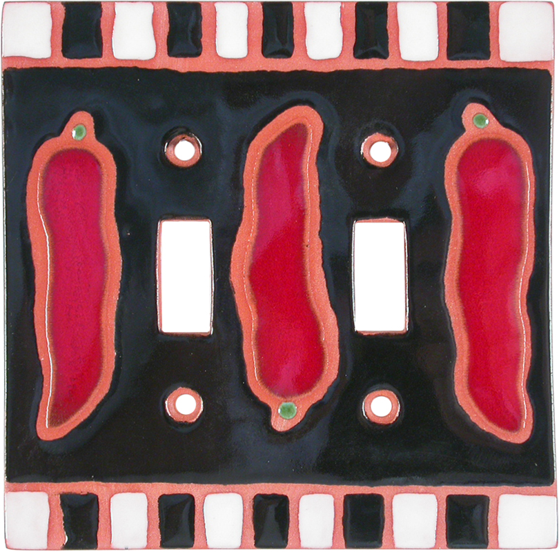 Chili Peppers Black Double 2 Toggle Switch Plate Covers