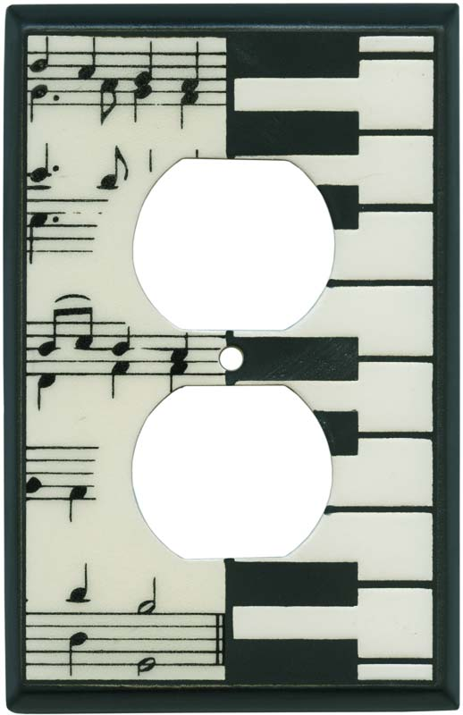 Classical Music Ceramic 1 Gang Duplex Outlet Cover Wall Plate
