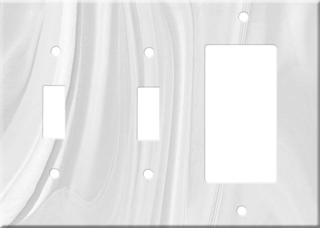 Corian Gray Onyx Double 2 Toggle / 1 GFCI Rocker Combo Switchplates