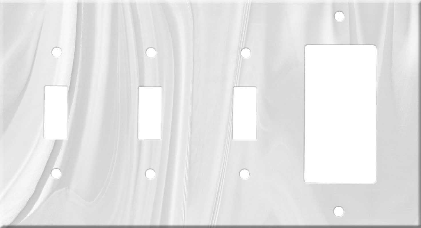 Corian Gray Onyx Triple 3 Toggle / 1 Rocker GFCI Switch Covers