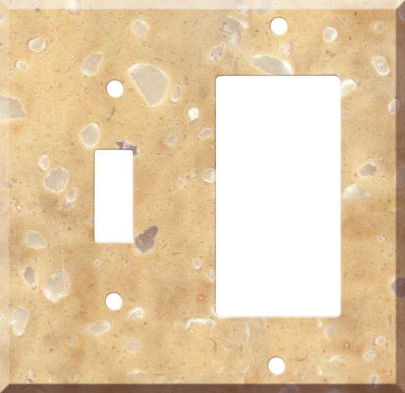 Corian Hickory Smoke 1 Toggle Wall Switch Plate - GFI Rocker Cover Combo