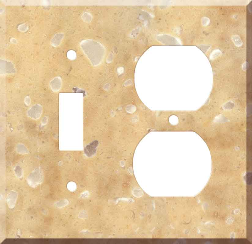 Corian Hickory Smoke 1 Toggle Wall Switch Plate - Outlet Cover Combination
