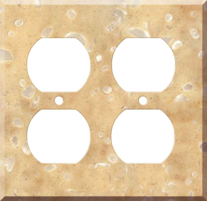 Corian Hickory Smoke 2 Gang Duplex Outlet Wall Plate Cover