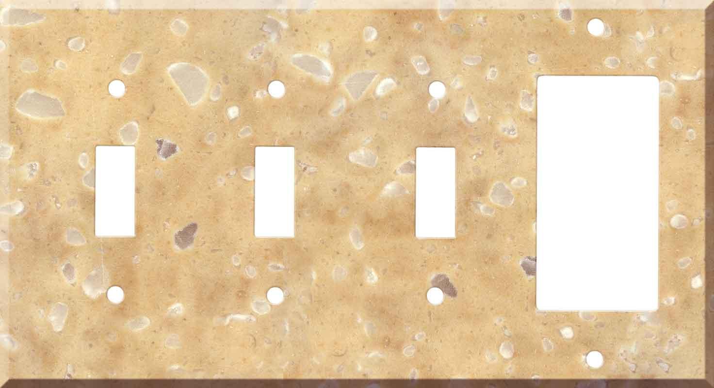 Corian Hickory Smoke 3-Toggle / 1-Decorator / Rocker - Combination Wall Plates