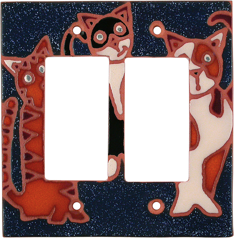 Curious Cats 2 Gang Double GFCI Rocker Decorator Wallplates