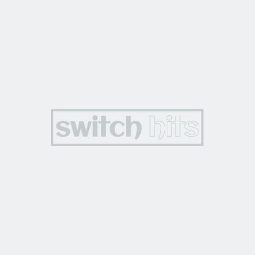 Art Deco Step Satin Black Nickel Combination Triple 3 Toggle / Outlet Wall Plate Covers