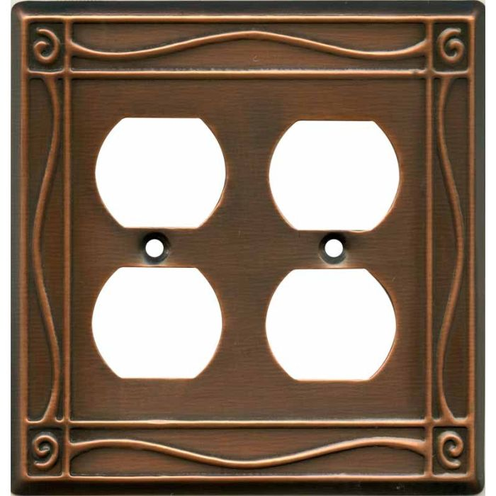 Border Antique Copper 2 Gang Duplex Outlet Wall Plate Cover