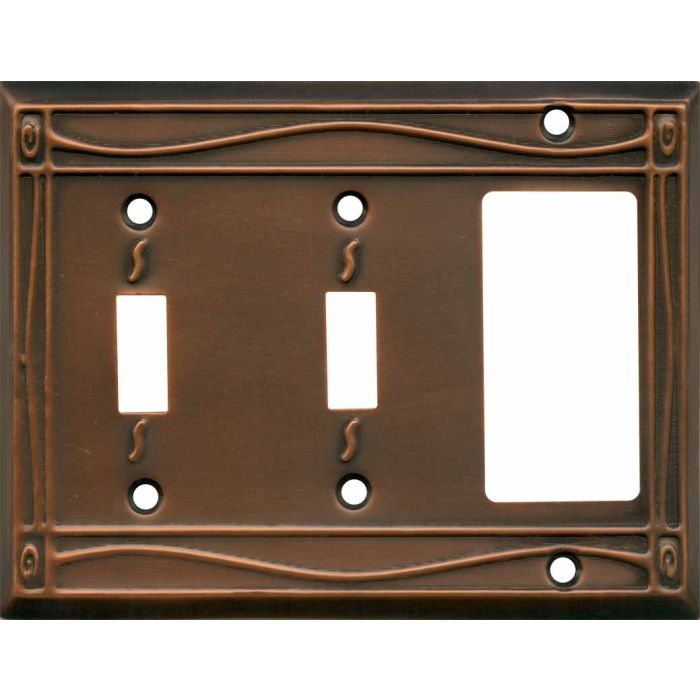 Border Antique Copper Double 2 Toggle / 1 GFCI Rocker Combo Switchplates