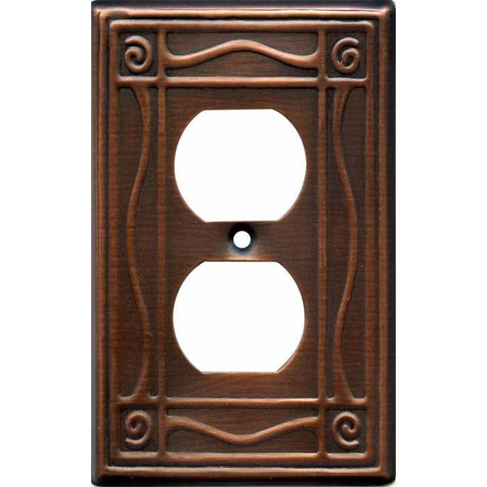Border Antique Copper 1 Gang Duplex Outlet Cover Wall Plate