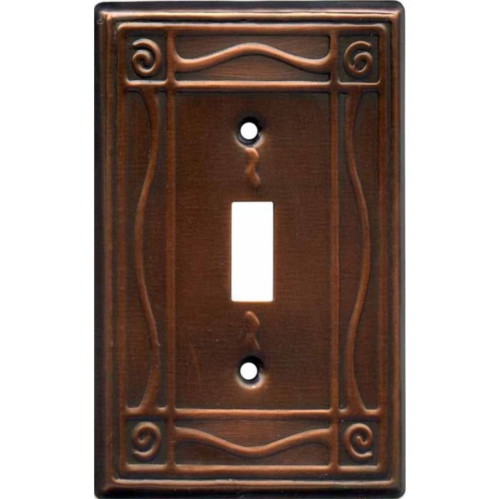 Border Antique Copper Single 1 Toggle Light Switch Plates