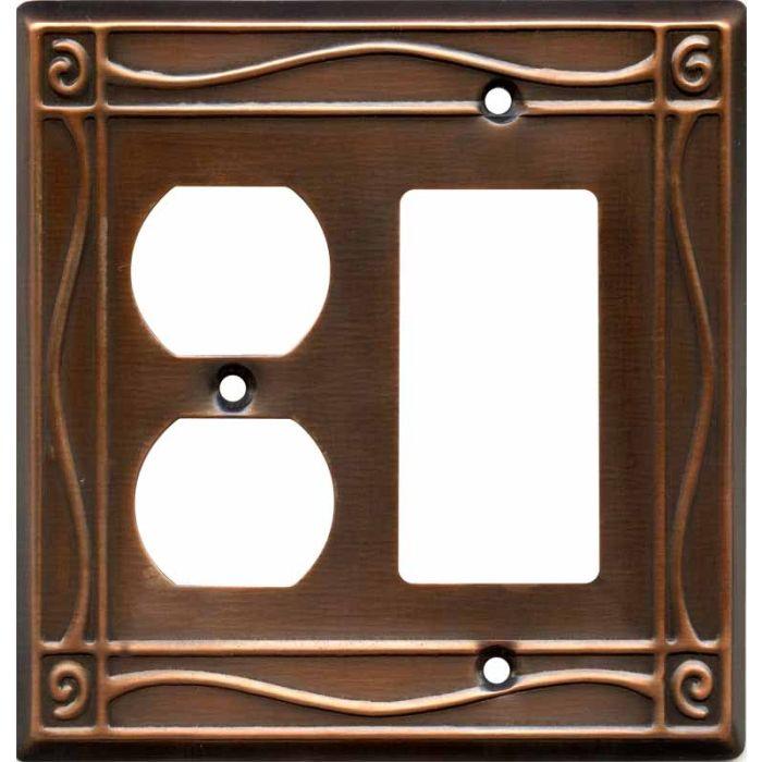 Border Antique Copper Combination GFCI Rocker / Duplex Outlet Wall Plates