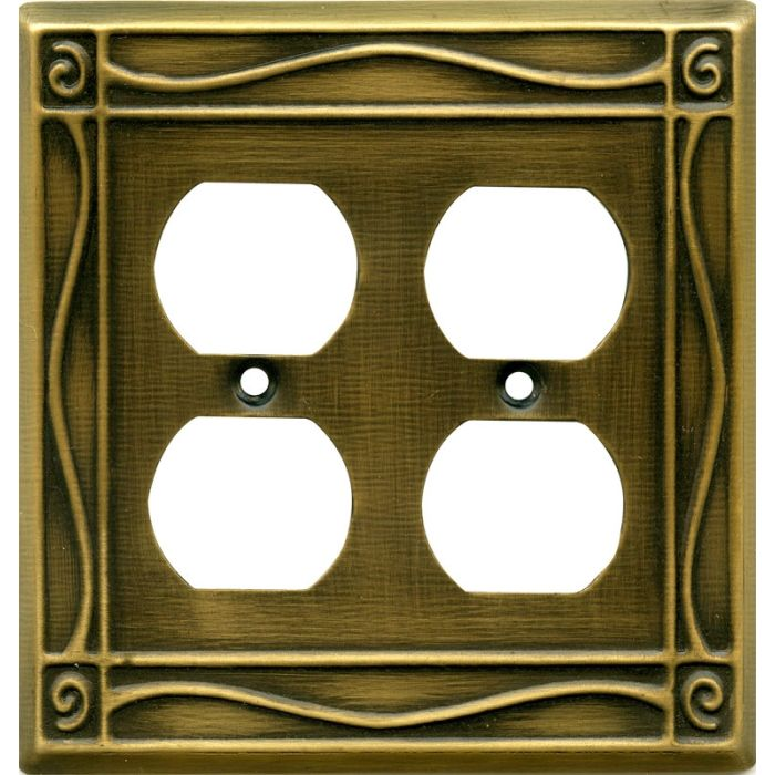 Border Antique Brass 2 Gang Duplex Outlet Wall Plate Cover