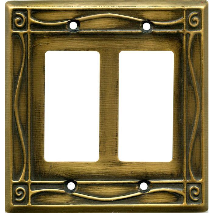 Border Antique Brass 2 Gang Double GFCI Rocker Decorator Wallplates