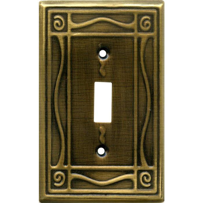 Border Antique Brass Single 1 Toggle Light Switch Plates