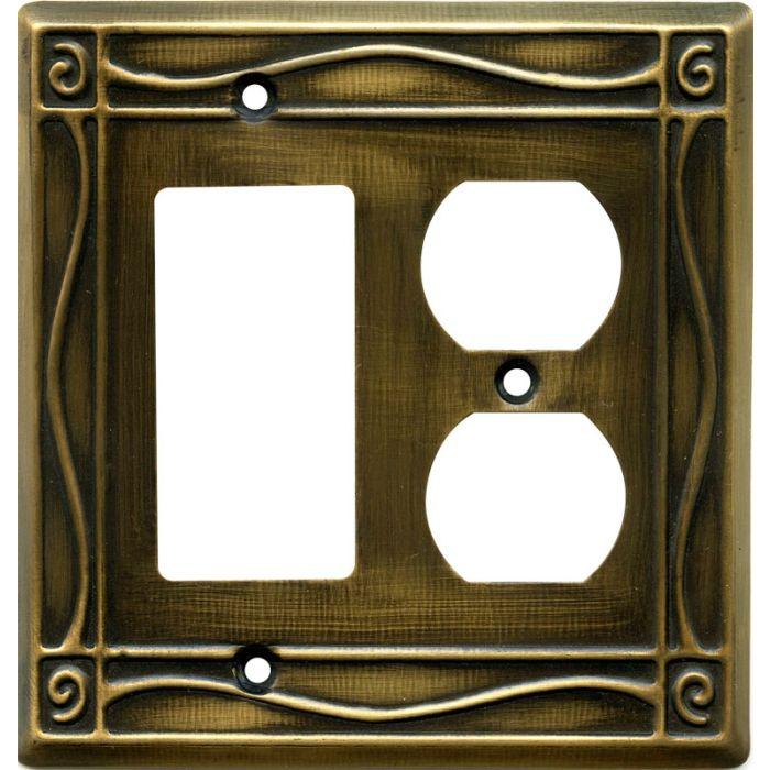 Border Antique Brass Combination GFCI Rocker / Duplex Outlet Wall Plates