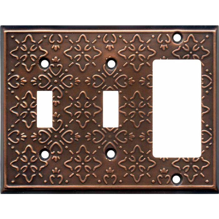 Baroque Antique Copper Double 2 Toggle / 1 GFCI Rocker Combo Switchplates