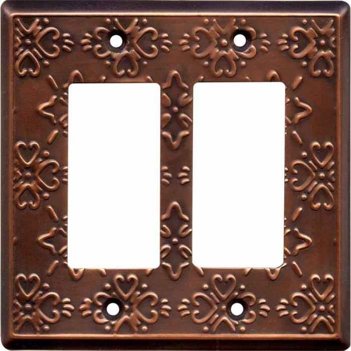 Baroque Antique Copper 2 Gang Double GFCI Rocker Decorator Wallplates