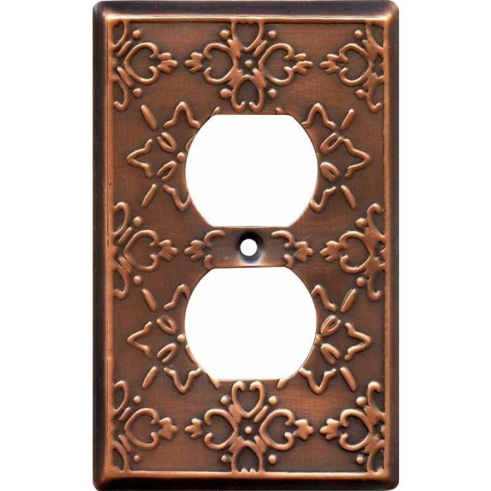 Baroque Antique Copper 1 Gang Duplex Outlet Cover Wall Plate