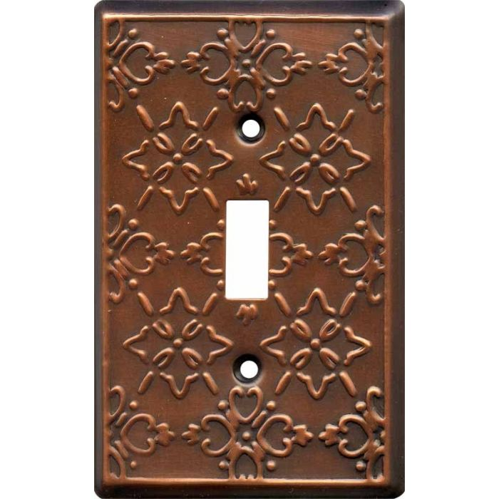 Baroque Antique Copper Single 1 Toggle Light Switch Plates