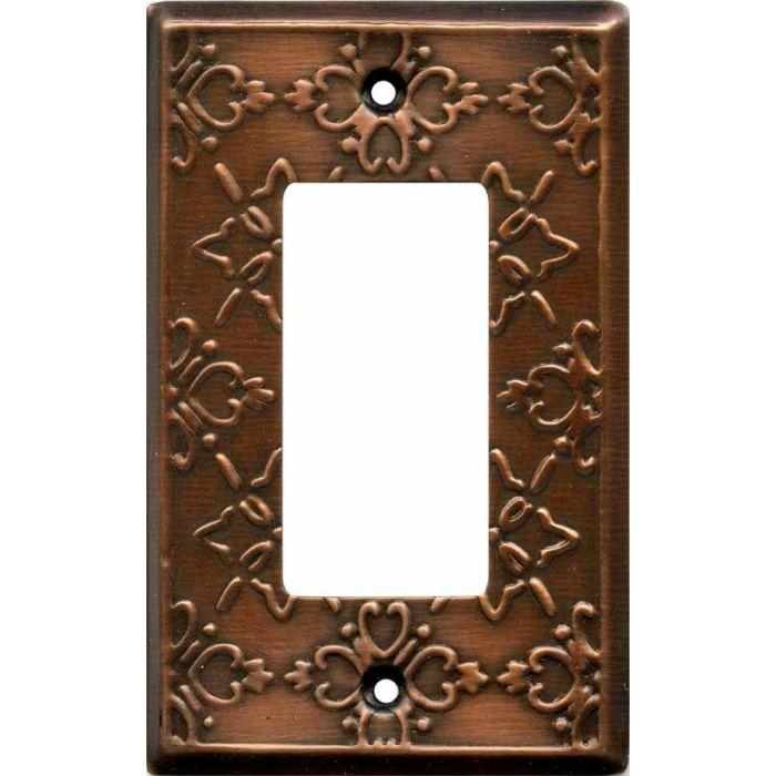 Baroque Antique Copper Single 1 Gang GFCI Rocker Decora Switch Plate Cover
