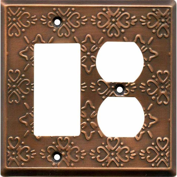 Baroque Antique Copper Combination GFCI Rocker / Duplex Outlet Wall Plates