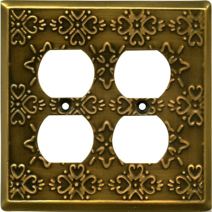 Baroque Antique Brass 2 Gang Duplex Outlet Wall Plate Cover