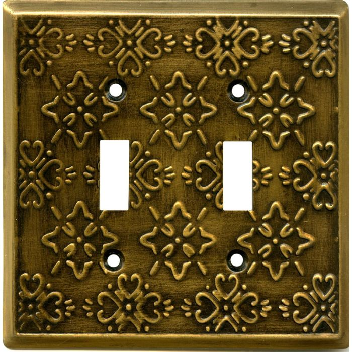Baroque Antique Brass Double 2 Toggle Switch Plate Covers
