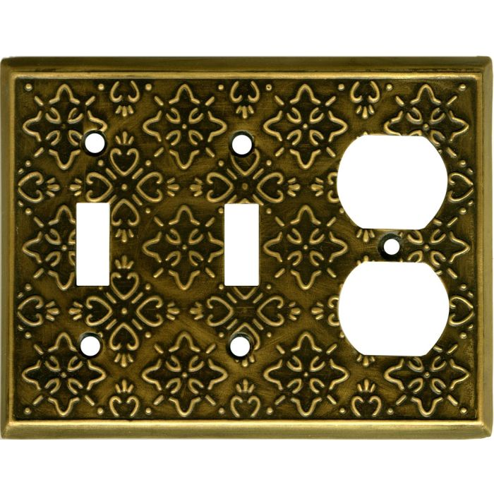 Baroque Antique Brass Double 2 Toggle / Outlet Combination Wall Plates