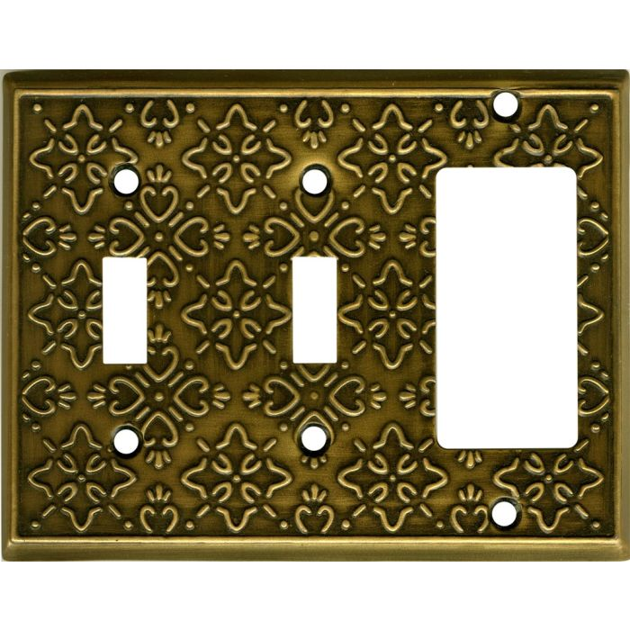 Baroque Antique Brass Double 2 Toggle / 1 GFCI Rocker Combo Switchplates