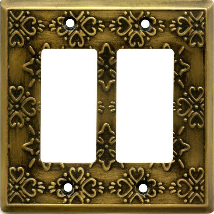 Baroque Antique Brass 2 Gang Double GFCI Rocker Decorator Wallplates