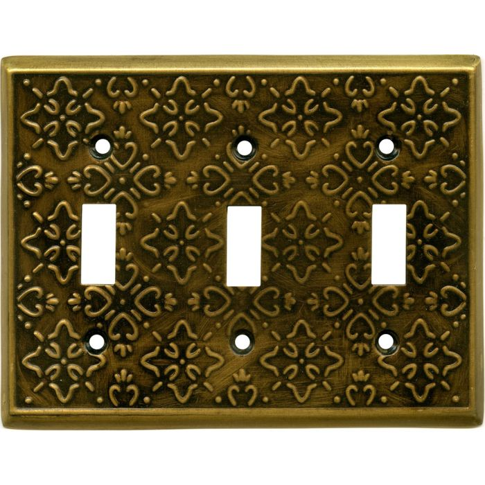 Baroque Antique Brass Triple 3 Toggle Light Switch Covers