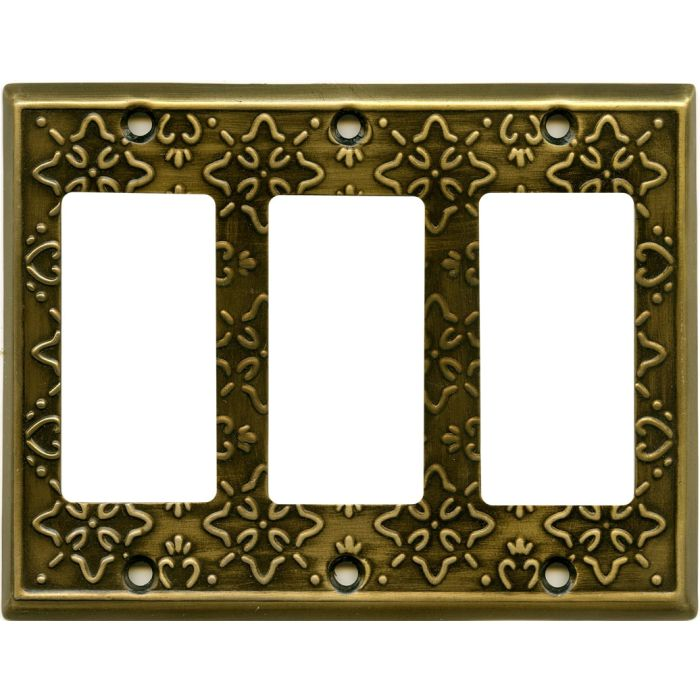 Baroque Antique Brass Triple 3 Rocker GFCI Decora Light Switch Covers