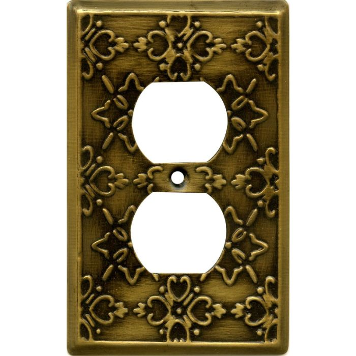 Baroque Antique Brass 1 Gang Duplex Outlet Cover Wall Plate