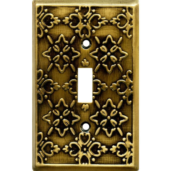 Baroque Antique Brass Single 1 Toggle Light Switch Plates